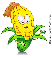 Sweet Corn Gesture - Illustration of a Sweet Corn Character...