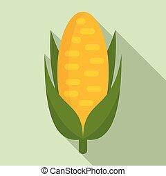 Sweet corn icon, flat style