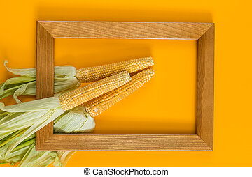 Sweet Corn on yellow surface with wooden frame