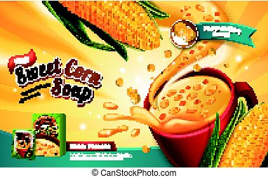 sweet corn soup ad, with special effect and corn elements,...