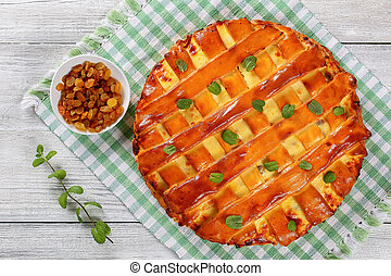 sweet cottage cheese pie, top view