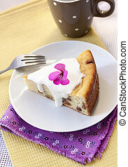 Sweet cottage cheese pudding with raisins