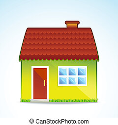 sweet cottage - illustration of cottage on white background