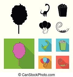 Sweet cotton wool on a stick, a toy dragon, popcorn in a box, colorful balloons on a string. Amusement park set collection icons in black, flat style vector symbol stock illustration web.