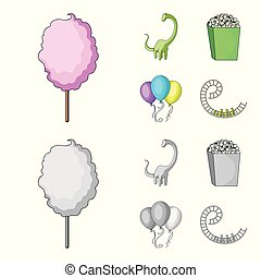Sweet cotton wool on a stick, a toy dragon, popcorn in a box, colorful balloons on a string. Amusement park set collection icons in cartoon,monochrome style vector symbol stock illustration web.
