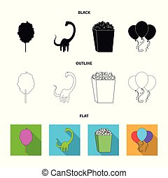 Sweet cotton wool on a stick, a toy dragon, popcorn in a box, colorful balloons on a string. Amusement park set collection icons in black,flat,outline style vector symbol stock illustration web.