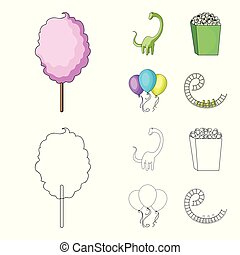 Sweet cotton wool on a stick, a toy dragon, popcorn in a box, colorful balloons on a string. Amusement park set collection icons in cartoon,outline style vector symbol stock illustration web.