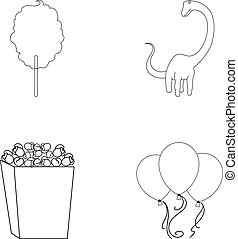 Sweet cotton wool on a stick, a toy dragon, popcorn in a box, colorful balloons on a string. Amusement park set collection icons in outline style vector symbol stock illustration web.