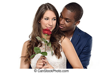 Sweet Couple Against Gray Wall Background