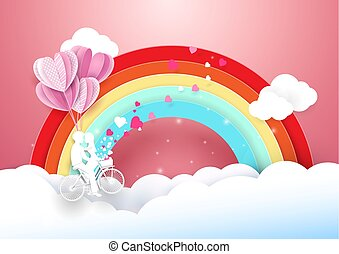 Sweet couple on bicycle flying with rainbow and clouds. Paper art and craft style