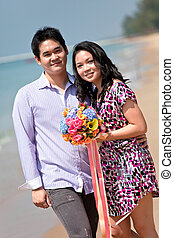 sweet couples dating at beach