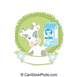 sweet cow with milk