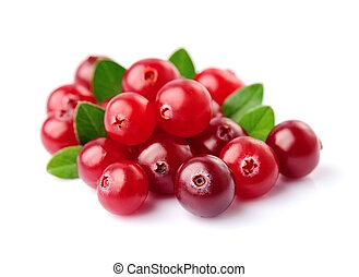 Sweet cranberries with leafs close up on white backgrounds.