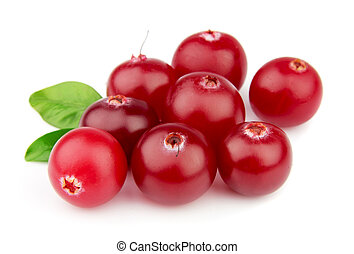 Sweet cranberries with leafs - Sweet wood cranberries with...