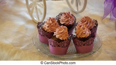 sweet cream and chocolate muffins.