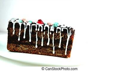 sweet cream with fruit slices. cake
