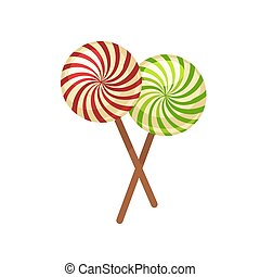 Sweet crossed lollypops on wooden sticks isolated illustration