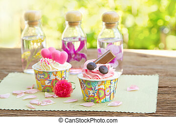 Sweet cupcake in the garden