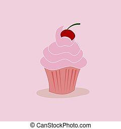 Sweet cupcake on a pink background