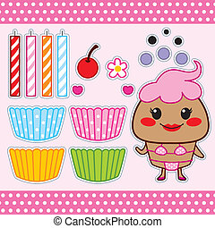 Sweet Cupcake Paper Doll - Colorful sweet cupcake fashion...