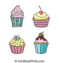 Sweet cupcake. Set of hand drawn cupcakes. Doodle cakes with cream and berries. Vector illustration