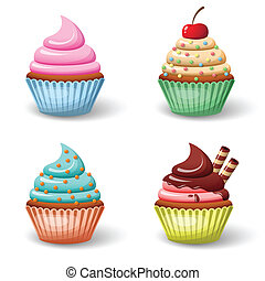 Sweet food chocolate creamy cupcake set isolated vector illustration