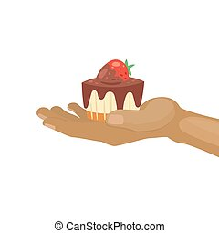 Sweet cupcake with chocolate and strawberry for birthsday vector cartoon illustration. Muffin in human hand. Yummy dessert decorated with berry, chocolate cupcake.