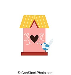 Sweet cute pink birdhouse with small bird, flat vector illustration isolated.