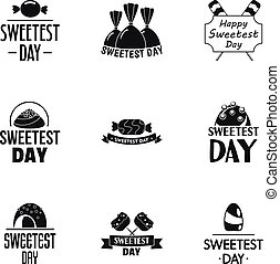 Sweet day logo set, simple style - Sweet day logo set....