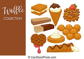 Sweet delicious cookies with natural dark chocolate and tender icing and waffles with cold ice cream and fruity jam