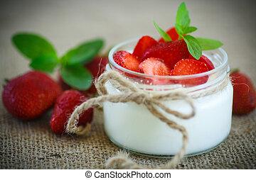 sweet delicious  yogurt with fresh strawberries