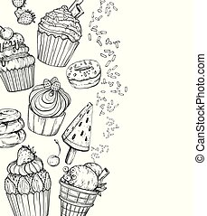 Sweet Dessert Background with cupcakes and ice cream, black and white