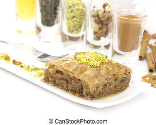 Sweet dessert baklava - Mediterranean traditional sweet...
