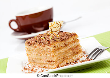 sweet dessert cakes with cup caffee