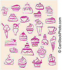 sweet dessert coffee doodle set