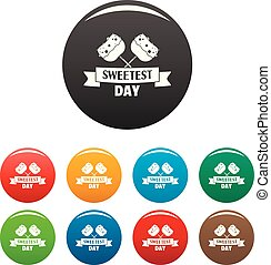 Sweet dessert day icons set color