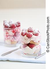 Sweet dessert - Delicious raspberry dessert with cream and...