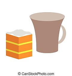 Sweet dessert in flat design cup of coffee and pie