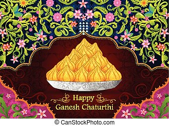 Sweet dessert modak in vector for Happy Ganesh Chaturthi