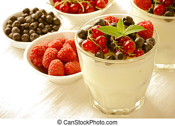 Sweet dessert, pudding, panna cotta with mix berries and...