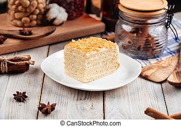 Sweet dessert slice of honey cake on a plate