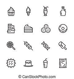 Sweet dessert, Sugar cause of obesity. Vector line icons set
