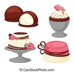 Sweet desserts and pastry cakes vector icons - Sweet...