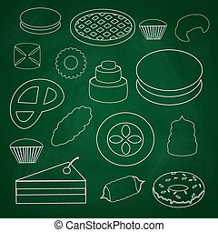 sweet desserts outline icons on blackboard eps10