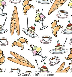 Sweet desserts seamless pattern