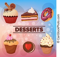 Sweet Desserts Set - in vector