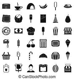 Sweet dish icons set, simple style - Sweet dish icons set....