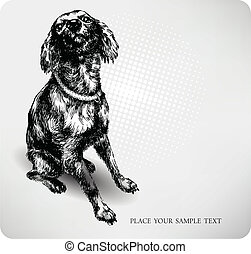 Sweet dog hand drawing vector