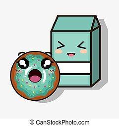 donut and milk box kawaii cartoon