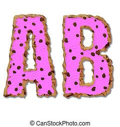 Sweet donut font . Letter A,B.